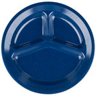 Carlisle 4351235 Dallas Ware 11 inch Cafe Blue 3-Compartment Melamine Plate - 48/Case