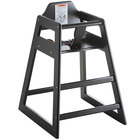 Lancaster Table & Seating Assembled Restaurant Wood High Chair with Black Finish