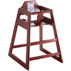 Lancaster Table & Seating Ready-to-Assemble Restaurant Wood High Chair with Mahogany Finish