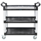 Choice 42 inch x 20 inch x 38 inch Black 3 Shelf Utility / Bussing Cart