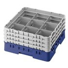 Cambro 9S434168 Blue Camrack Customizable 9 Compartment 5 1/4 inch Glass Rack
