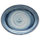 Corona by GET Enterprises PP1604807712 Artisan 11 3/4 inch x 9 11/16 inch Blue Oval Porcelain Coupe Platter   - 12/Case