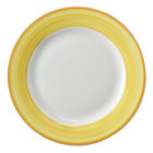 Corona by GET Enterprises PA1600902024 Calypso 8 inch Bright White Porcelain Rolled Edge Plate with Yellow and Coral Rim - 24/Case