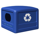 Commercial Zone 746104 42 Gallon Blue Square Recycling Bin Lid with Blue Decals