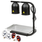 Avantco W62-BLK Black 2 Bulb Free Standing Heat Lamp / Food Warmer with Red Bulbs, Pan, and Grate - 120V, 500W