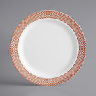 Gold Visions 9 inch White Plastic Plate with Rose Gold Lattice Design - 120/Case
