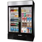 Beverage-Air MMR44HC-1-BS-IQ MarketMax 47 inch Black Glass Door Merchandiser with Stainless Steel Interior and Electronic Smart Door Lock