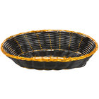 9 inch x 6 inch Oval Black and Gold Rattan Basket - 12/Case