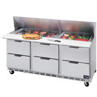 Beverage Air SPED72-12-6 72 inch 6 Drawer Refrigerated Sandwich Prep Table