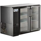Avantco UBB-48-GT-G 48 inch Black Underbar Height Narrow Glass Door Back Bar Refrigerator with Galvanized Top and LED Lighting