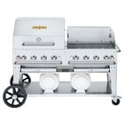 Crown Verity CV-CCB-60RWP Liquid Propane 60 inch Club Grill with 2 Horizontal Propane Tanks and RWP Roll Dome / Wind Guard Package