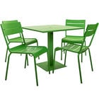 BFM Seating YKM-B32LMU Beachcomber 32 inch Square Lime Powder Coated Aluminum Dining Height Outdoor / Indoor Table with Umbrella Hole and 4 Chairs