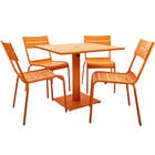 BFM Seating YKM-B32CTU Beachcomber 32 inch Square Citrus Powder Coated Aluminum Dining Height Outdoor / Indoor Table with Umbrella Hole and 4 Chairs