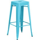 Lancaster Table & Seating Alloy Series Arctic Blue Stackable Metal Indoor / Outdoor Industrial Barstool with Drain Hole Seat