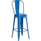 Lancaster Table & Seating Alloy Series Blue Metal Indoor / Outdoor Industrial Cafe Barstool with Vertical Slat Back and Drain Hole Seat