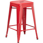 Lancaster Table & Seating Alloy Series Red Stackable Metal Indoor / Outdoor Industrial Cafe Counter Height Stool with Drain Hole Seat