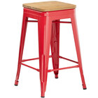 Lancaster Table & Seating Alloy Series Red Metal Indoor Industrial Cafe Counter Height Stool with Natural Wood Seat