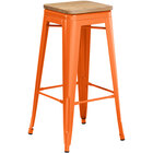 Lancaster Table & Seating Alloy Series Orange Metal Indoor Industrial Cafe Bar Height Stool with Natural Wood Seat