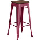 Lancaster Table & Seating Alloy Series Sangria Metal Indoor Industrial Cafe Bar Height Stool with Walnut Wood Seat