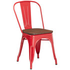 Lancaster Table & Seating Alloy Series Red Metal Indoor Industrial Cafe Chair with Vertical Slat Back and Walnut Wood Seat