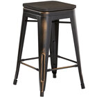 Lancaster Table & Seating Alloy Series Distressed Copper Metal Indoor Industrial Cafe Counter Height Stool with Black Wood Seat