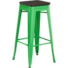 Lancaster Table & Seating Alloy Series Green Metal Indoor Industrial Cafe Bar Height Stool with Black Wood Seat