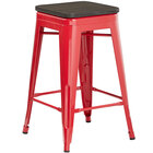Lancaster Table & Seating Alloy Series Red Metal Indoor Industrial Cafe Counter Height Stool with Black Wood Seat