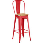 Lancaster Table & Seating Alloy Series Red Metal Indoor Industrial Cafe Bar Height Stool with Vertical Slat Back and Natural Wood Seat