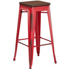 Lancaster Table & Seating Alloy Series Distressed Red Metal Indoor Industrial Cafe Bar Height Stool with Walnut Wood Seat