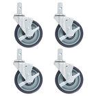 Regency 5 inch Polyurethane Swivel Stem Casters With Brakes for Sheet Pan Racks   - 4/Pack
