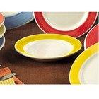 CAC R-11-Y Rainbow 4.75 oz. Yellow Rolled Edge Stoneware Grapefruit / Monkey Dish - 36/Case