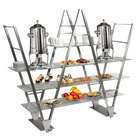 Eastern Tabletop ST1770 Stainless Steel W-Shaped Mobile Buffet Display with Glass Shelves
