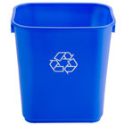 Continental 1358-1 13.6 Qt. Blue Rectangular Recycling Wastebasket