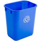 Continental 1358-1 13.6 Qt. / 3 Gallon Blue Rectangular Recycling Wastebasket / Trash Can