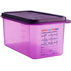 Araven 61393 1/3 Size Purple Allergen-Free Polypropylene Food Pan with Airtight Lid - 6 inch Deep