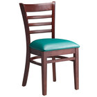 Lancaster Table & Seating Mahogany Finish Wooden Ladder Back Chair with 2 1/2 inch Green Padded Seat
