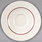 Homer Laughlin 1492-0328 Gothic Maroon Jade 4 1/2 inch Off White China Saucer - 36/Case