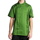 Chef Revival J020MT-L Cool Crew Fresh Size 46 (L) Mint Green Customizable Chef Jacket with Short Sleeves and Hidden Snap Buttons - Poly-Cotton