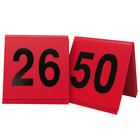 Cal-Mil 226-1 Red/Black Double-Sided Number Tents 26-50 - 3 inch x 3 inch