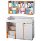 Rainbow Accents 5140JC114 48 1/2 inch x 23 1/2 inch x 38 1/2 inch Orange TRUEdge Freckled-Gray Left-Sided Diaper Changing Station with Stairs and Mounted Organizer