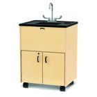 Jonti-Craft Baltic Birch 1372JC 28 1/2 inch x 23 1/2 inch x 38 inch Mobile Clean Hands Helper with Plastic Sink