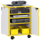 Rainbow Accents 3310JCWW007 24 inch x 23 inch x 30 inch Locking Mobile 4-Section Yellow TRUEdge Freckled-Gray Laminate Presentation Cart with Yellow Trays