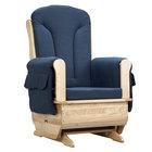 Jonti-Craft Baltic Birch 8150JC 30 inch x 23 1/2 inch x 43 1/2 inch Wood Glider Rocker with Blue Cushions