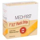 Medique 60033 Medi-First 1 inch x 3 inch Plastic Bandage Strip   - 100/Box