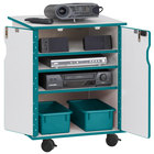 Rainbow Accents 3310JCWW005 24 inch x 23 inch x 30 inch Locking Mobile 4-Section Teal TRUEdge Freckled-Gray Laminate Presentation Cart with Teal Trays