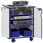 Rainbow Accents 3310JCWW003 24 inch x 23 inch x 30 inch Locking Mobile 4-Section Blue TRUEdge Freckled-Gray Laminate Presentation Cart with Blue Trays