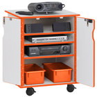 Rainbow Accents 3310JCWW114 24 inch x 23 inch x 30 inch Locking Mobile 4-Section Orange TRUEdge Freckled-Gray Laminate Presentation Cart with Orange Trays