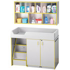 Rainbow Accents 5140JC007 48 1/2 inch x 23 1/2 inch x 38 1/2 inch Yellow TRUEdge Freckled-Gray Left-Sided Diaper Changing Station with Stairs and Mounted Organizer