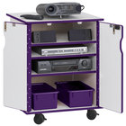 Rainbow Accents 3310JCWW004 24 inch x 23 inch x 30 inch Locking Mobile 4-Section Purple TRUEdge Freckled-Gray Laminate Presentation Cart with Purple Trays