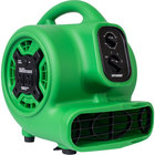 XPOWER P-230AT Green 3-Speed Compact Air Mover with GFCI Power Outlets and Timer - 1/5 hp